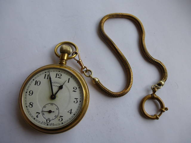 0631a1abc 125. Ingersoll crown, brass watch and Goldplated chain / ANTIQUE ...