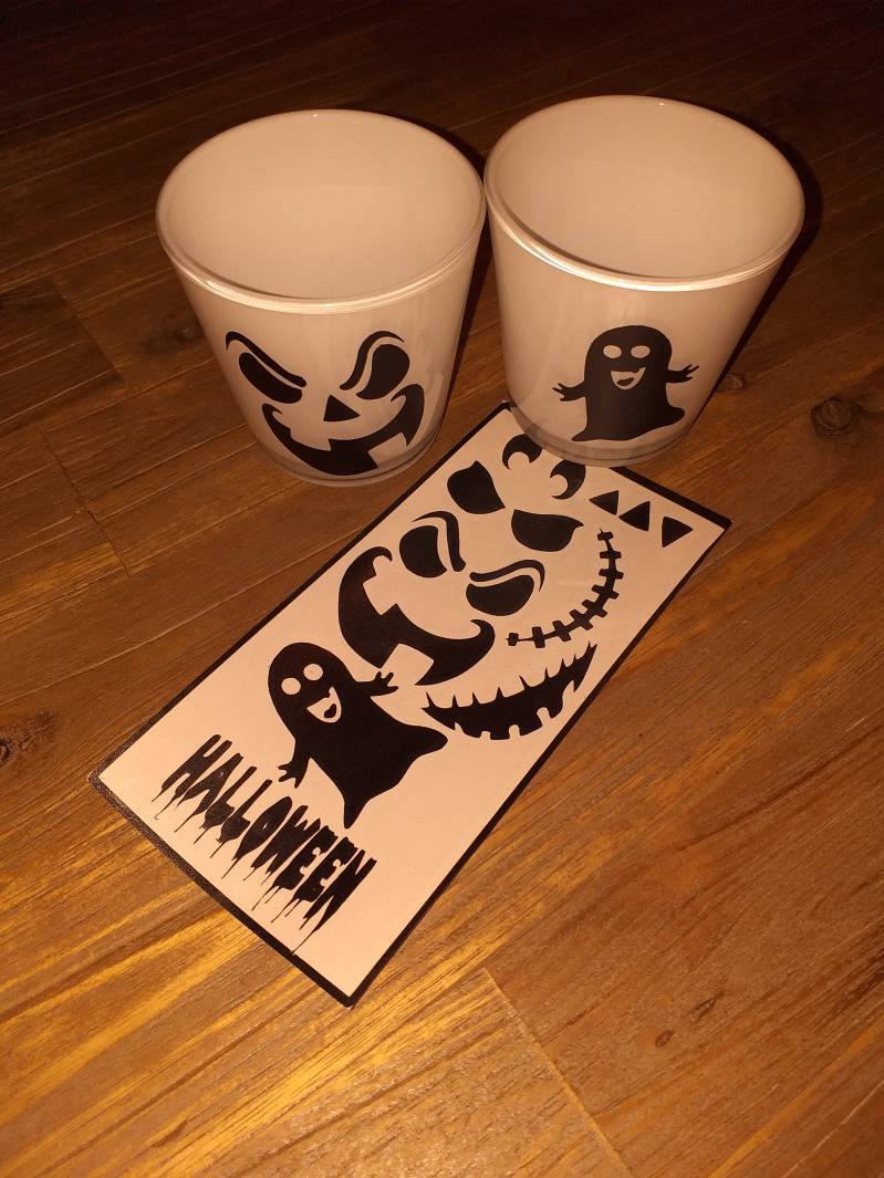 DIY stickers Halloween waxinelichtjes