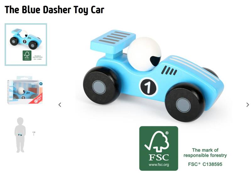 De blauwe Dasher toy car