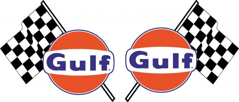 Gulf Oil Flags Blue Decal P Large on Volvo Turbo Logo