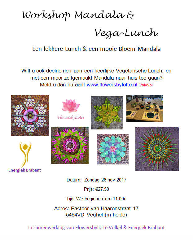 Workshop Mandala maken + Vega Lunch zon 26 Nov