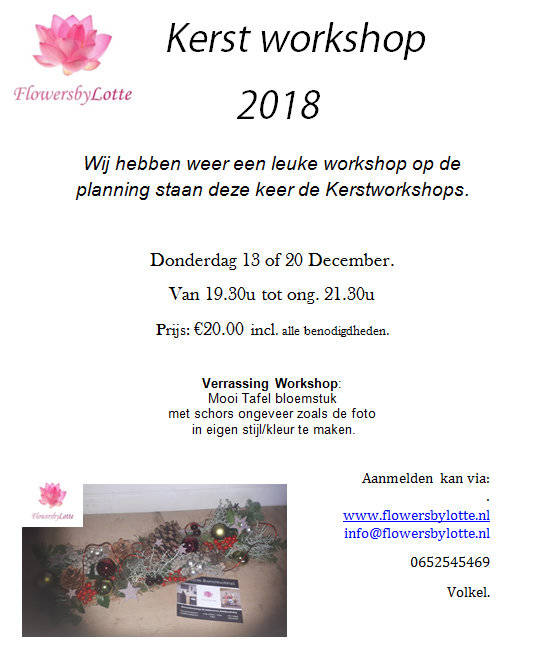 Kerstworkshop Donderdag 13 December