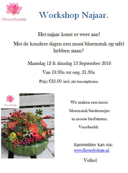 Workshop Najaar Dinsdag 13 september 2016