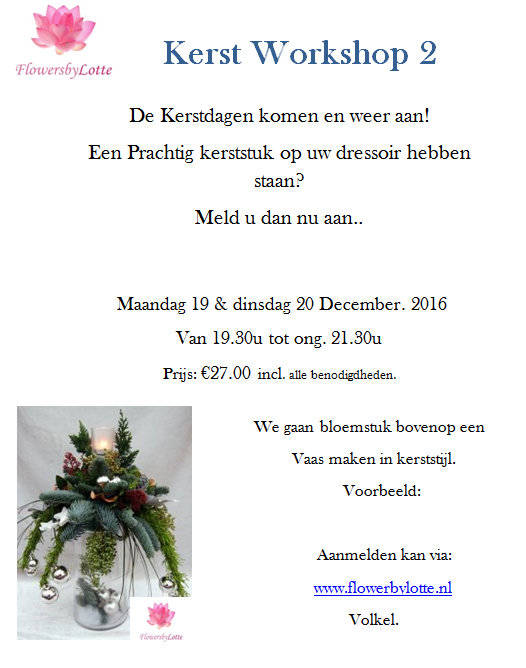 Kerstworkshop 2  Dinsdag 20 December 2016