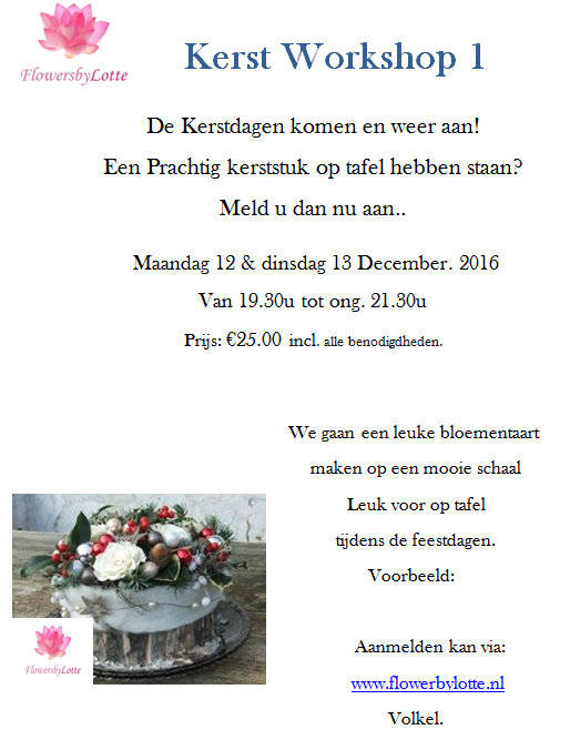 Kerstworkshop 1 Dinsdag 13 December 2016