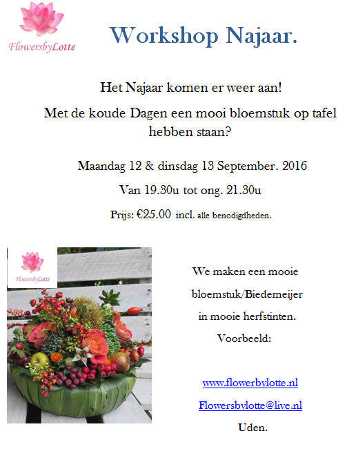 Workshop Najaar Maandag 12 September