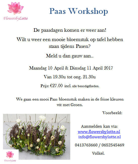 Extra Workshop Pasen Woensdag 12 April 2017