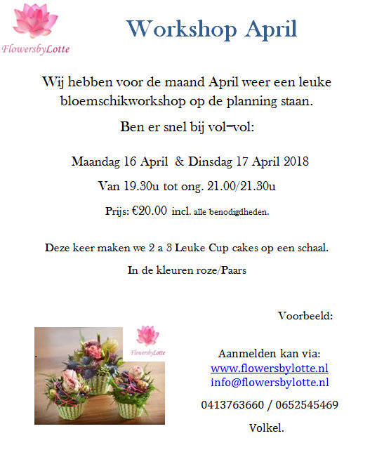 Workshop Maandag 16 April 2018