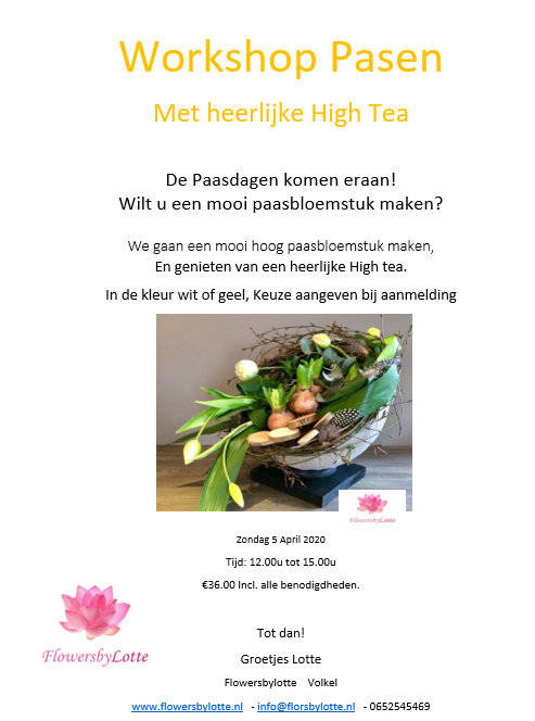 Workshop met High Tea Zondag 5 April