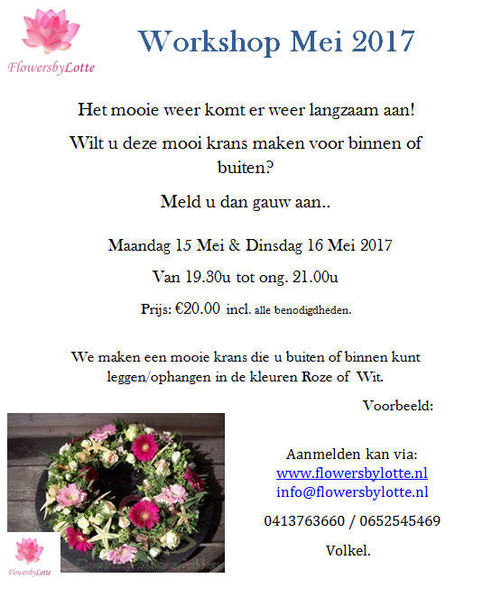 Workshop Krans Dinsdag 16 Mei 2017