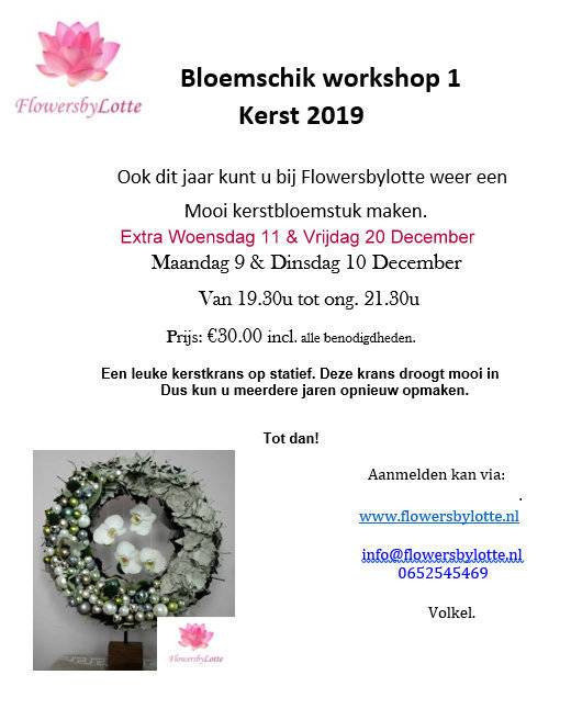 Extra: Vrijdag 20 December Workshop 1 of 2