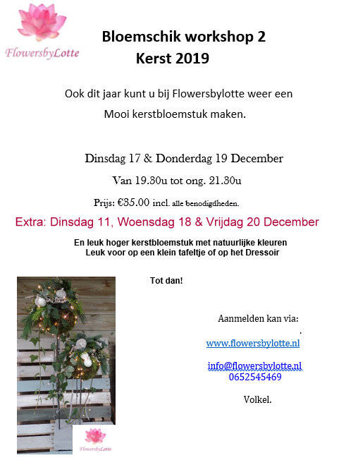 Extra: Workshop 1 & 2 Vrijdag 20 December
