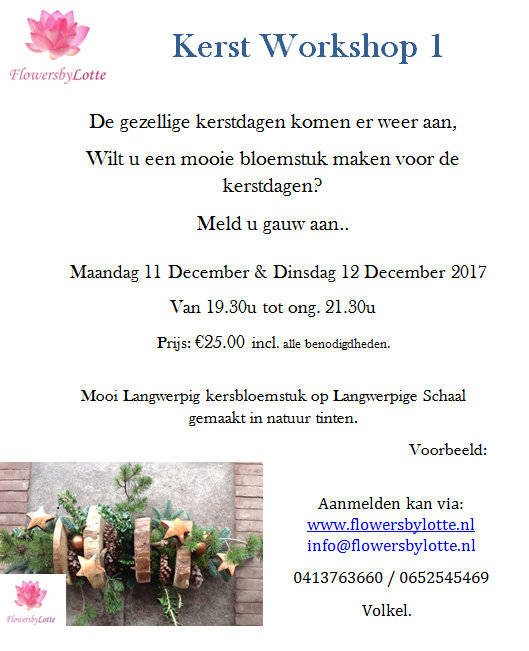 Workshop Kerst 1 Dinsdag 12 December 2017