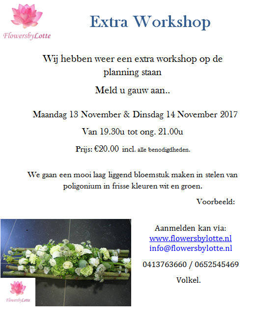 Workshop Extra Maandag 13 November 2017
