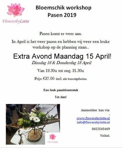 Extra Paasworkshop Maandag 15 April 2019