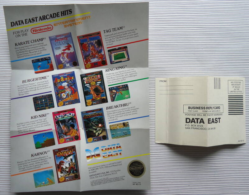 NES - Data East advertisement poster w/ registration card 1987 (US)