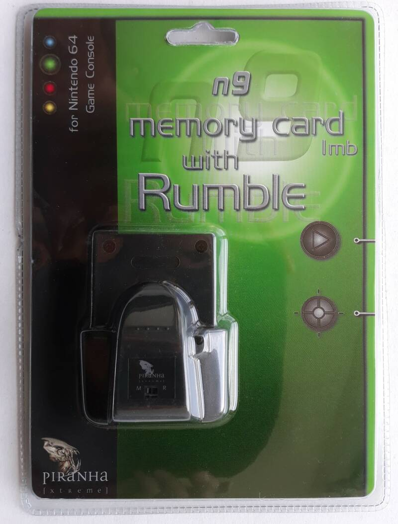 Nintendo 64 - Piranha n9 Memory card 1 mb with Rumble (region free) new in blister