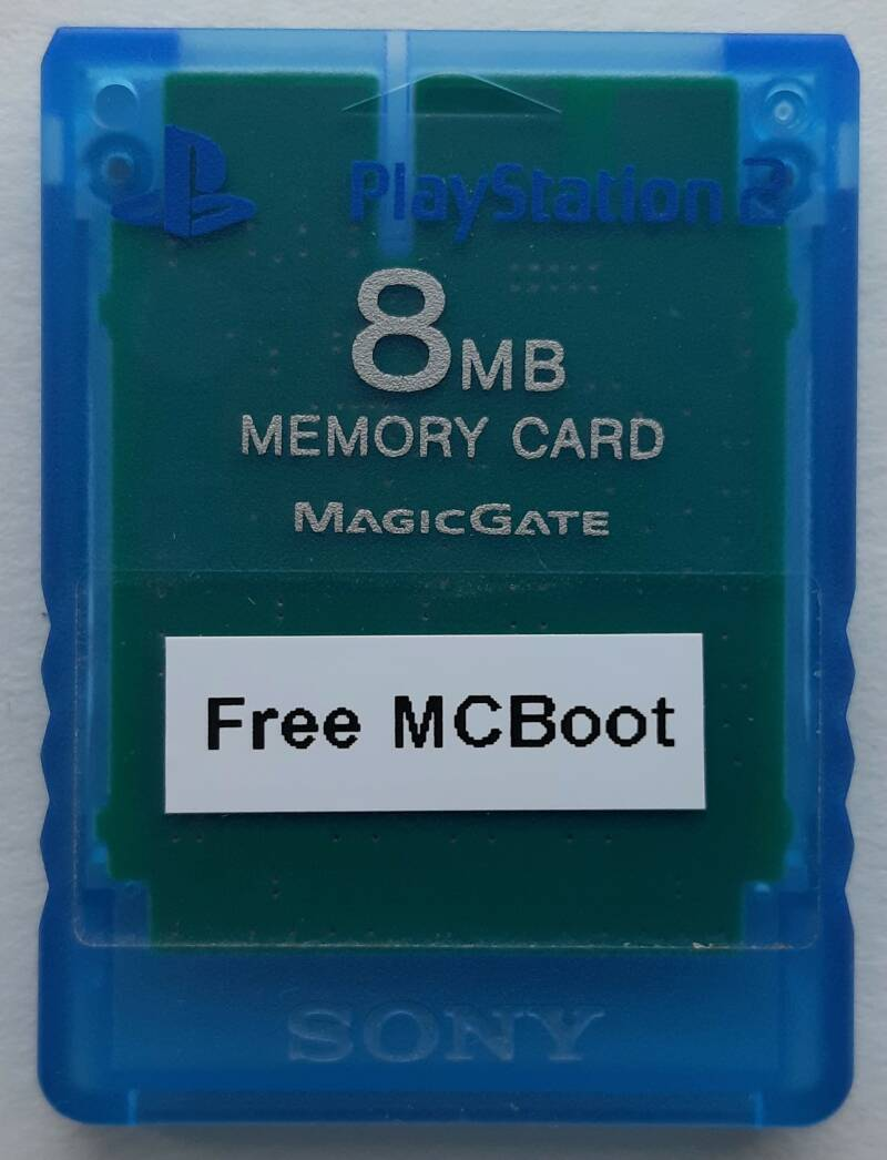 PS2 - Memory card Island Blue with Free McBoot installed