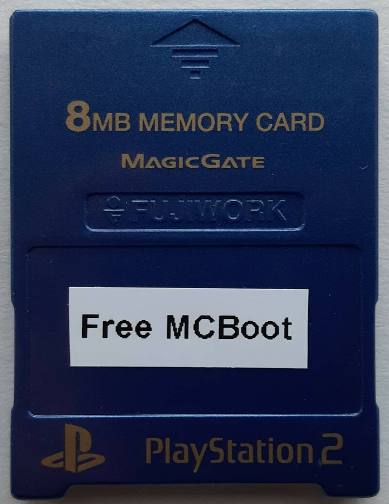 PS2 - Memory card Fujiwork Metallic Blue with Free McBoot installed