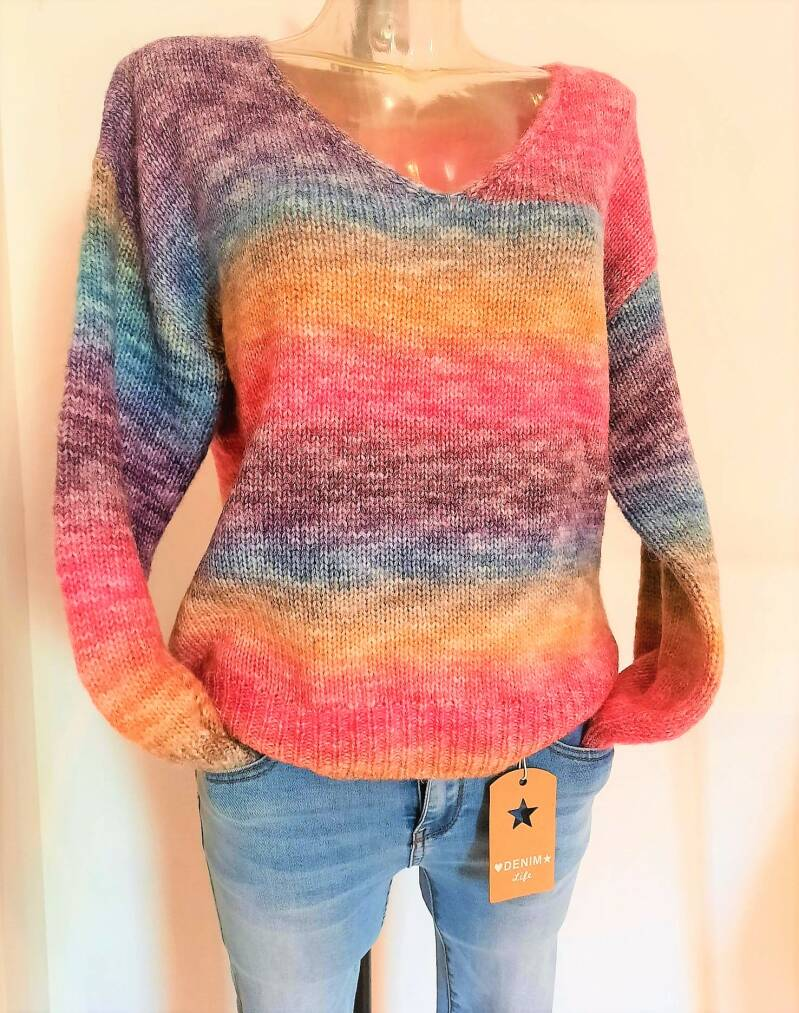 Trui multicolor roze/blauw/paars ONE SIZE