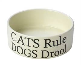 HOUSE OF PAWS VOERBAK KAT CATS RULE DOGS DROOL 11X11X4 CM OP=OP