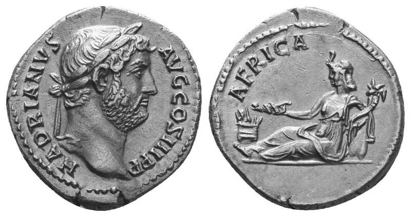 """Hadrian. AD 117-138. AR Denarius . """"Travel series"""" issue (""""Provinces cycle"""") – The province alone. Rome mint."""