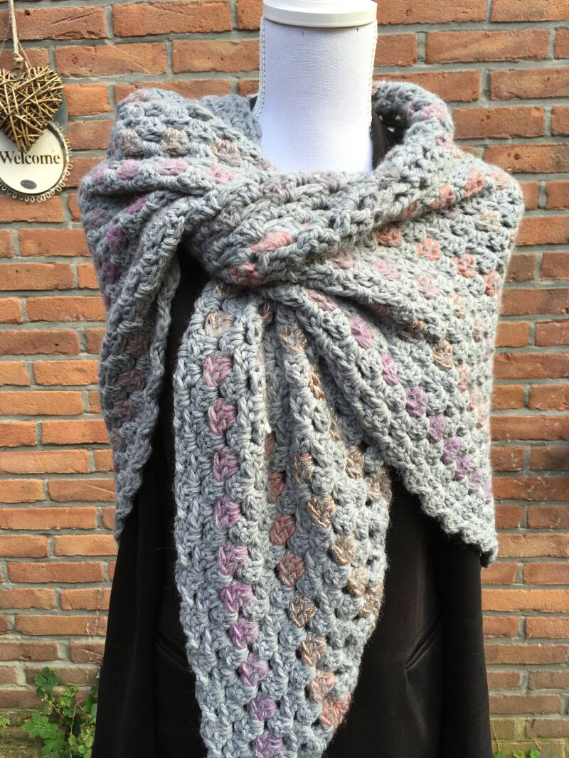 Hug - Grey with Purple, Pink, and Silver