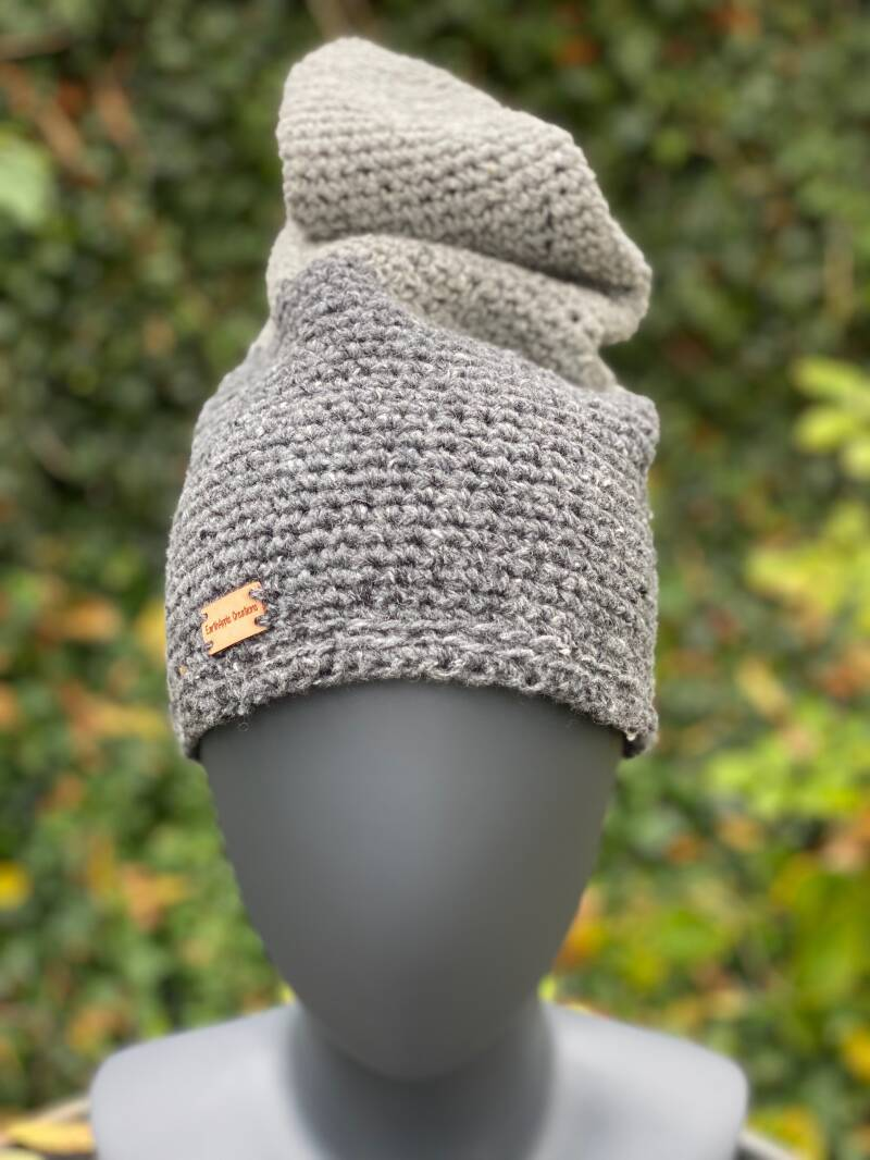 Pointed Beanie - Two-tone grey