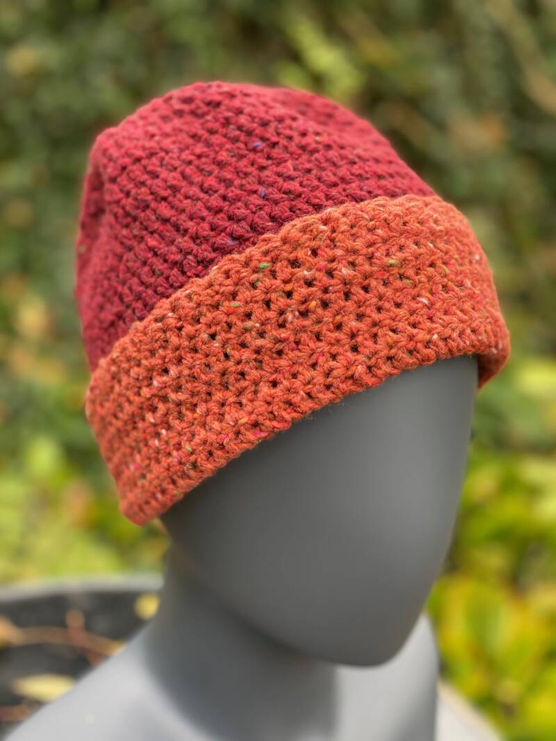 Two-Tone Beanie - Rusty & Red
