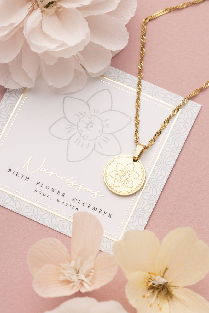 Ketting - Goud/Zilver - Birth Flower - December - Narcissus (Narcis)