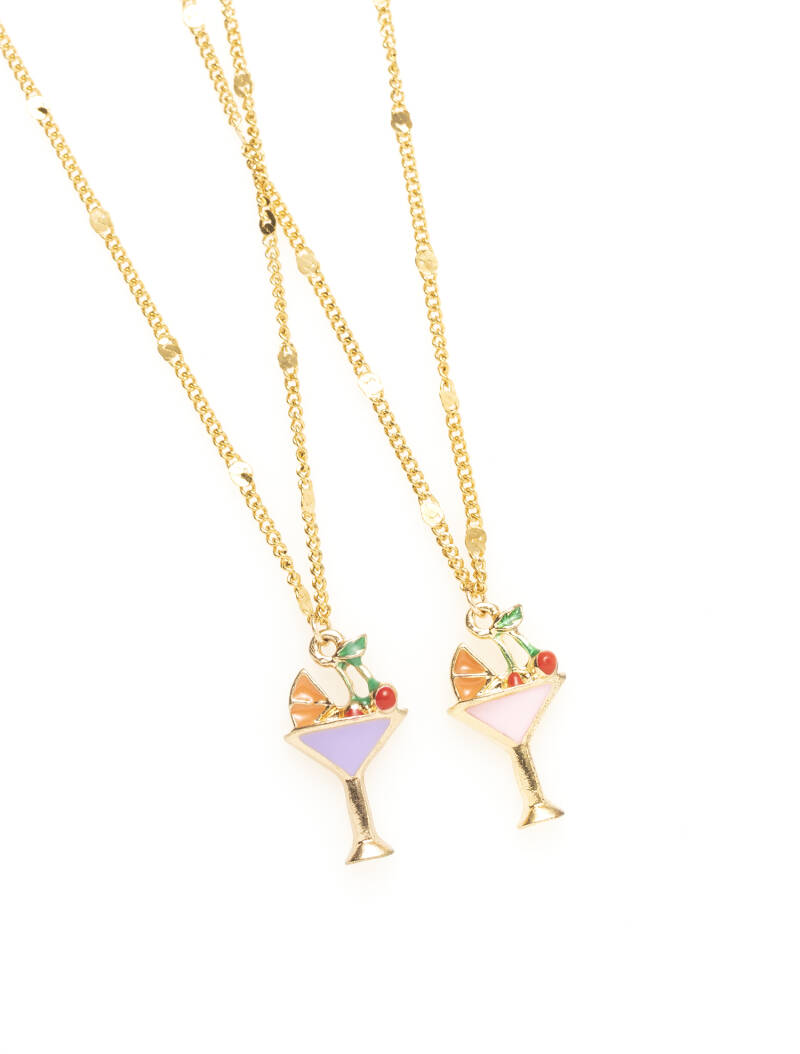 Ketting - Goud - Cocktail paars/roze