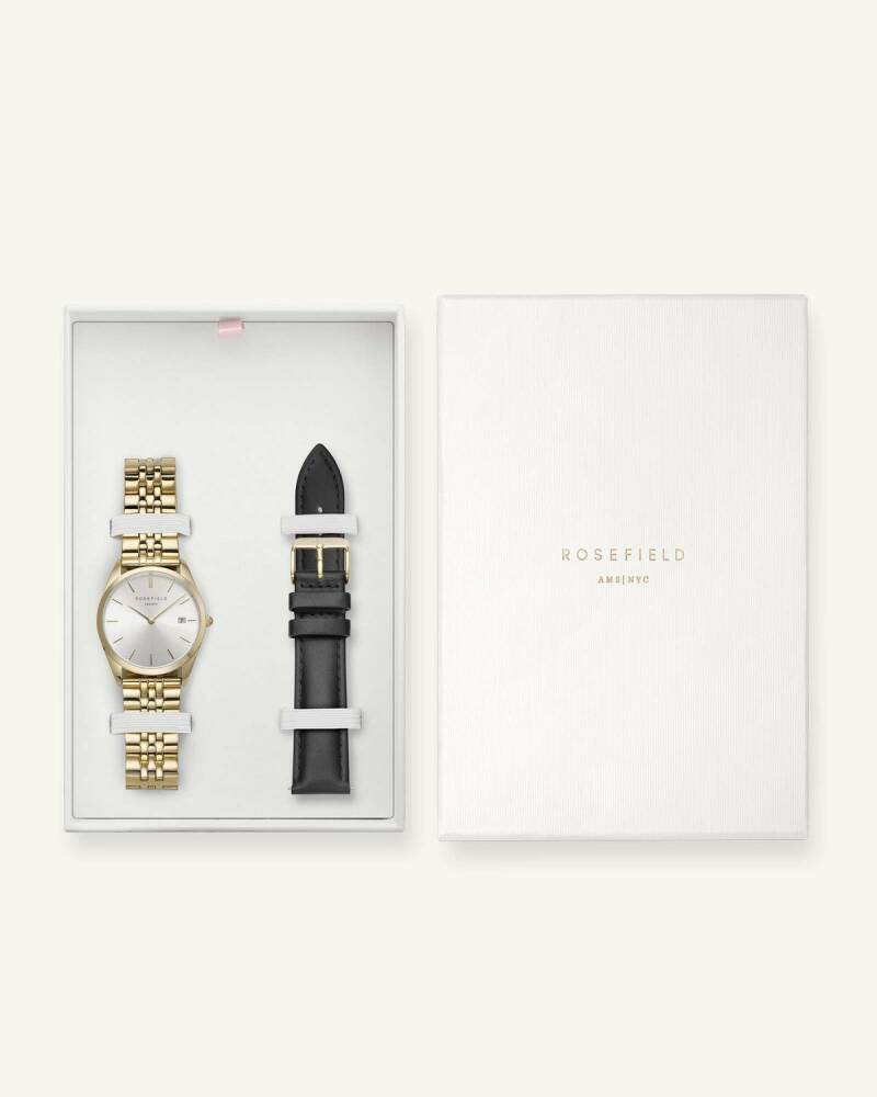 Rosefield The Ace Silver Sunray Gold + Extra Strap ASGBG-X238