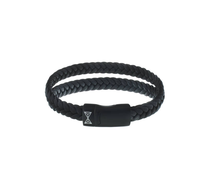 Armband Aze Jewels Double Flat String Black-on-Black AZ-BL008-C