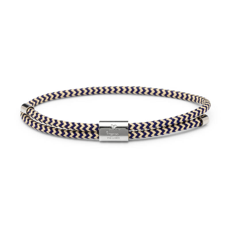 Armband Pig & Hen Little Lewis Navy / Sand | Silver