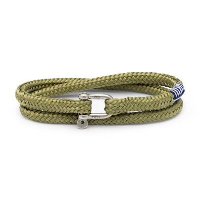 Armband Pig & Hen Salty Slim Reed Green | Silver