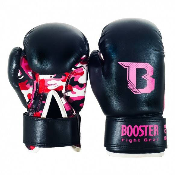 Booster Fight Gear (Kick)Bokshandschoenen Kids | Zwart & Roze Camouflage