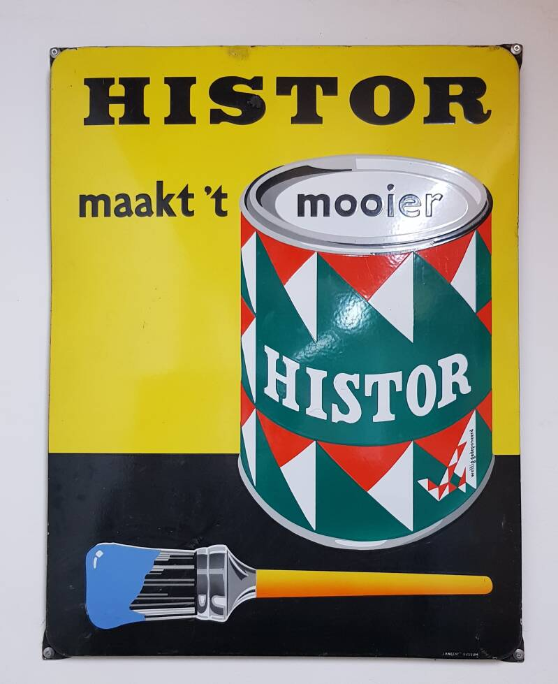 Emaille reclamebord Histor verf