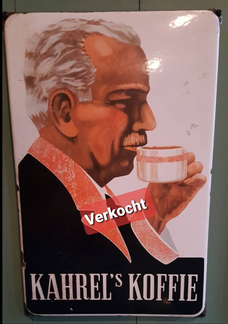 Emaille reclamebord Kahrel's Koffie en Thee