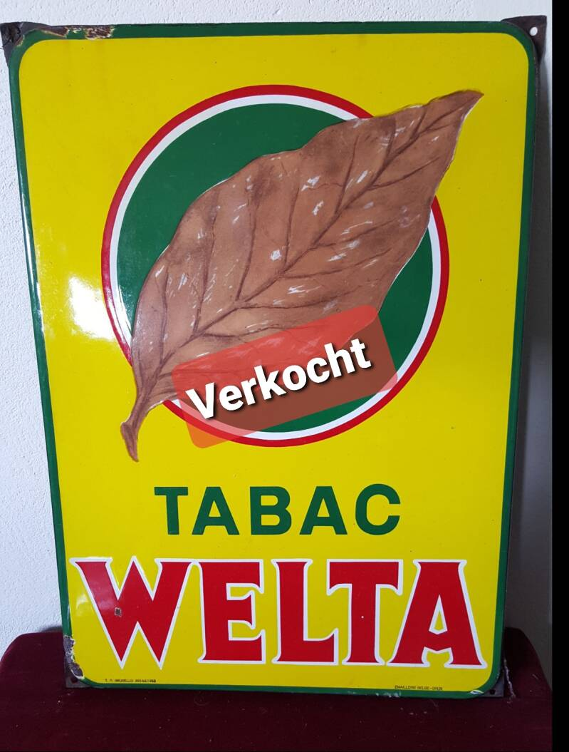Emaille reclamebord TABAC Welta