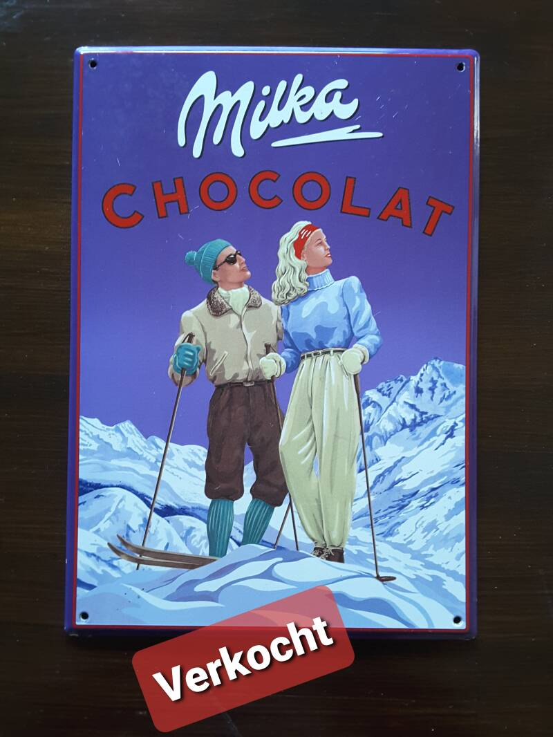 Emaille reclamebord Milka chocolade