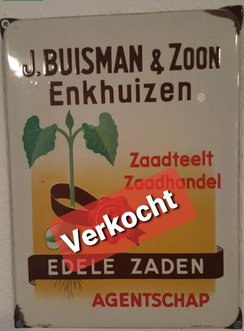 Emaille reclamebord J.Buisman & Zoon