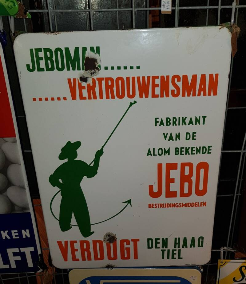 Emaille reclamebord JEBO Verdught Tiel