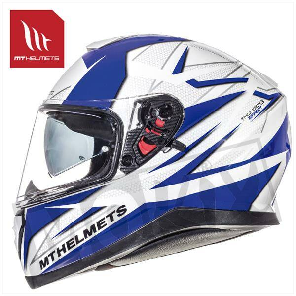 HELM MT THUNDER III SV EFFECT WIT/BLAUW