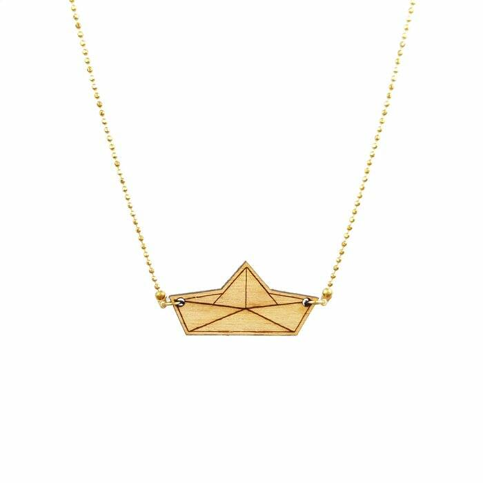 All Things We Like Houten Origami Boot Ketting