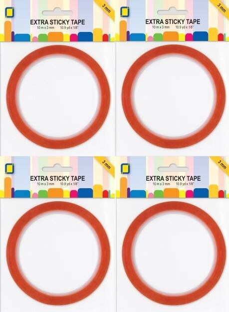 4 rollen Extra stickytape 3, 6, 9, 12, of 15 mm breed, per rol 10 meter.