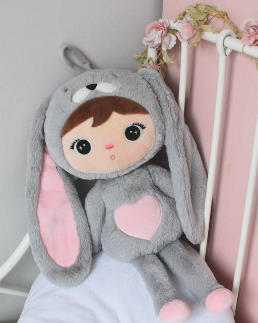 Cute rabbit doll - grijs/roze