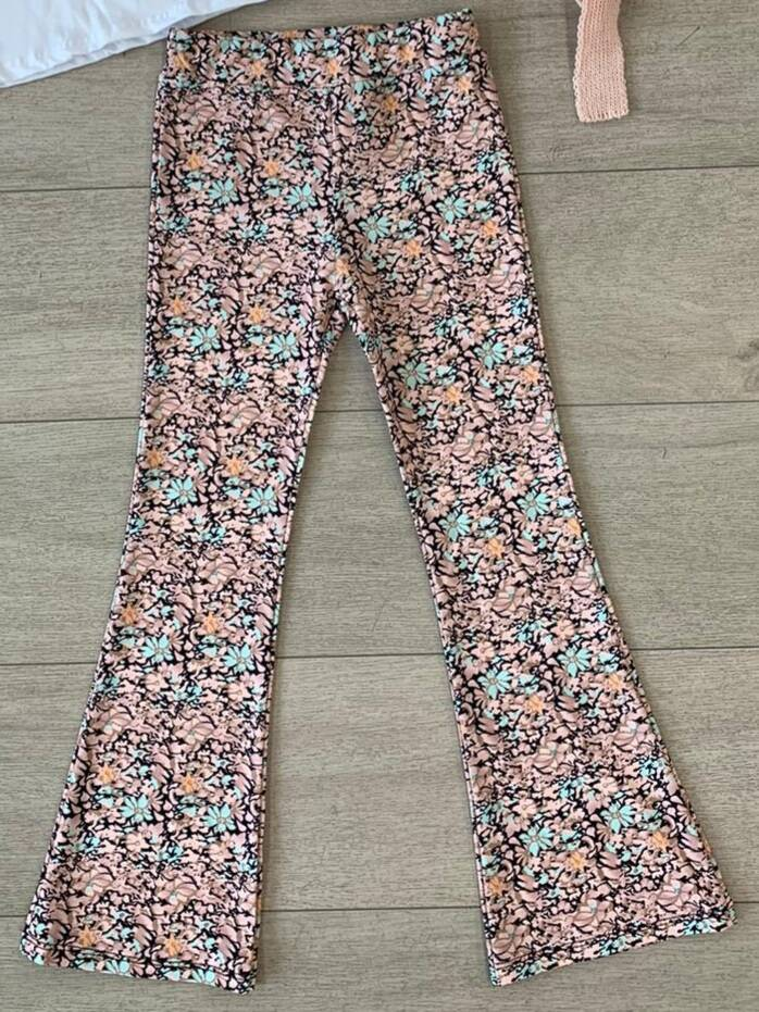 Flaredpants - Flower roze