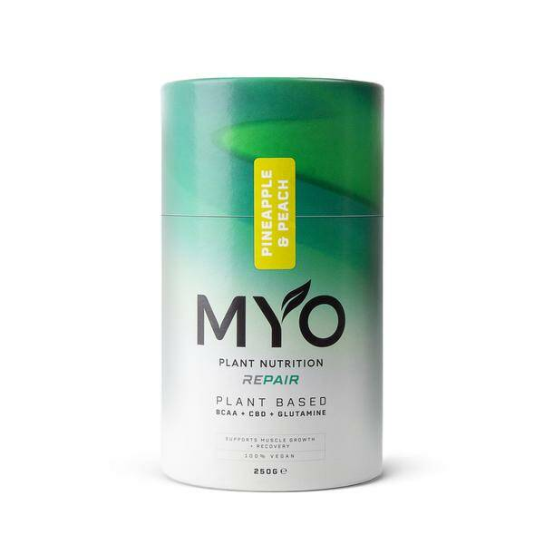   MYO   Plant Based Nutrition   Repair   BCAA's CBD and Glutamine   CBD 10 Mg per serving   250g   6 days delivery time