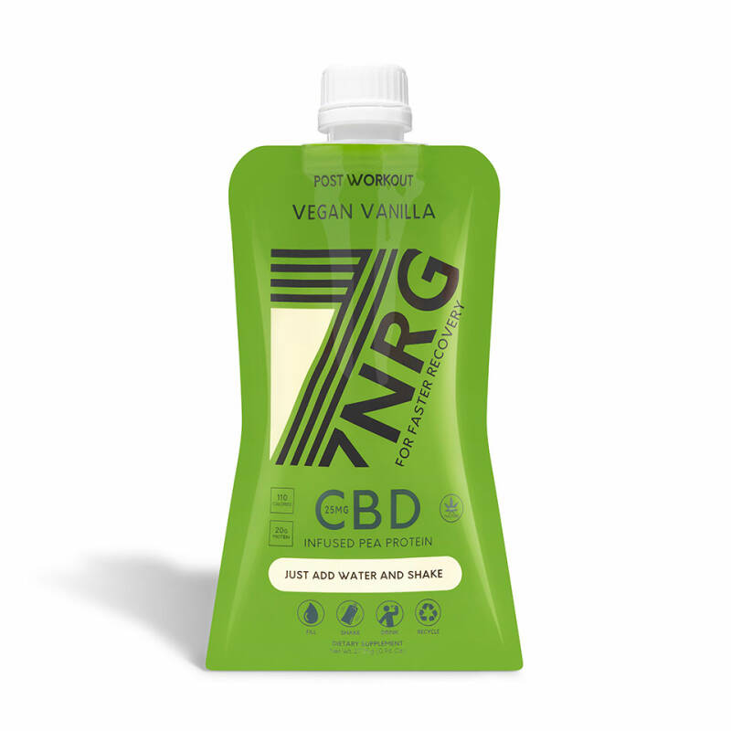 | 7NRG | POST-WORKOUT VEGAN VANILLE WHEY PROTEIN SHAKE | 25MG CBD | 265 ML | Add water and shake | THC 0%