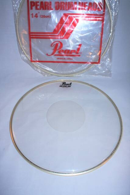 "NEW Pearl drum head CC clear 14"" with power dot"